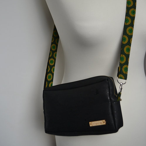 Black cork crossbody bag with integrated coin, card and notes compartme