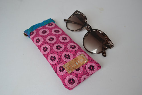 Pink and Teal fabric spring top sunglasses case, bookish gift