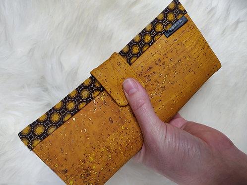 Polperro Maxi Cork Leather Wallet in Mustard