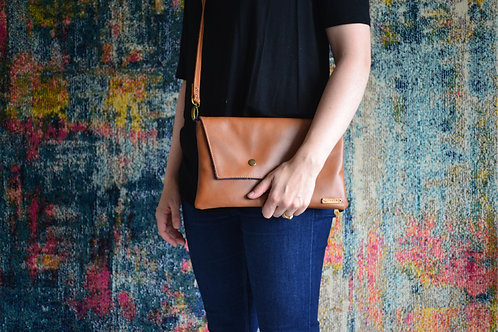 Genuine leather crossbody bag - cinnamon