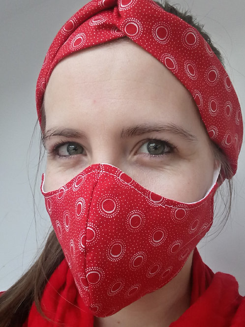 3 Layer Fabric Face Mask - red