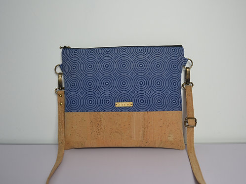 Blue Fabric and Cork Leather Cross Body bag with cork strap