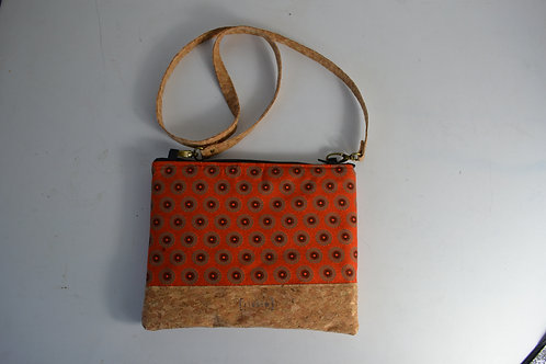 Cork and Orange Fabric Cross Body bag with cork strap