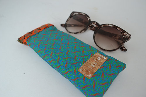 copy of Pink and Teal fabric spring top sunglasses case, bookish gift
