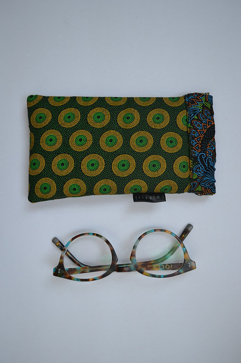 Green and black fabric spring top glasses case