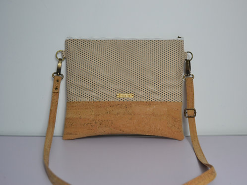 White Fabric and Cork Leather Cross Body bag with cork strap