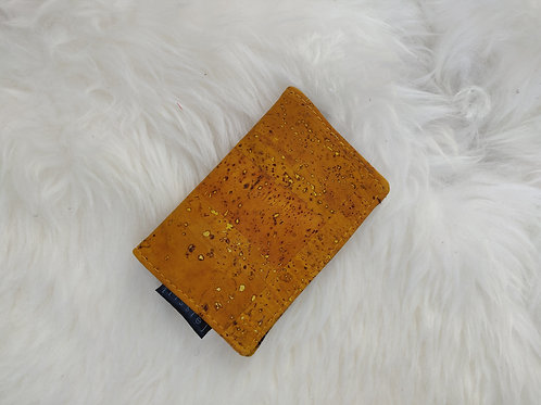 Yellow Vegan Cork Leather Cardholder