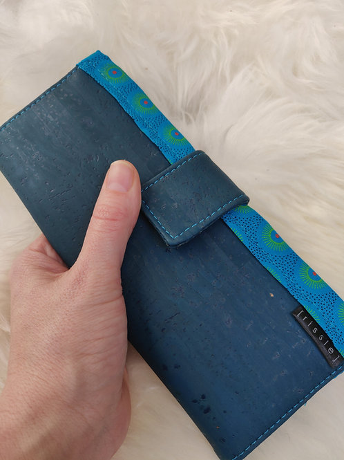 Polperro Maxi Cork Leather Wallet in Teal