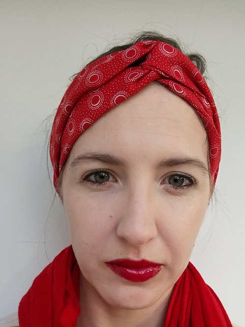 Red shweshwe fabric turban headband