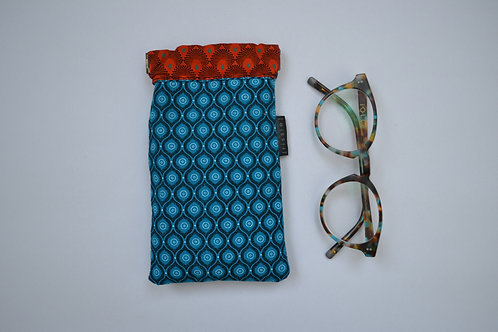 Turquoise and orange fabric spring top glasses case
