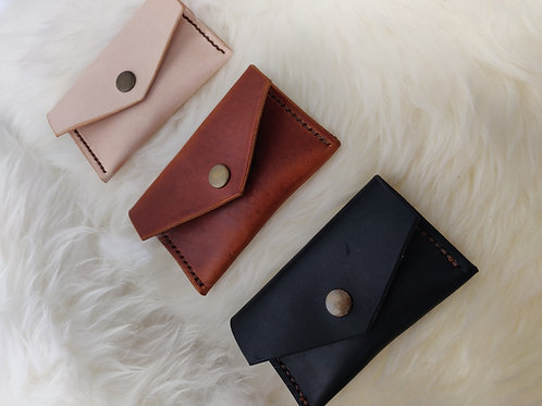 Hand stitched envelope style leather coin purse or card wallet