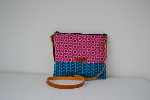Pink and Turquoise Fabric Cross Body bag with Brown Leather strap