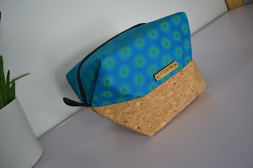 Turquoise fabric and cork fabric box shaped cosmetic bag