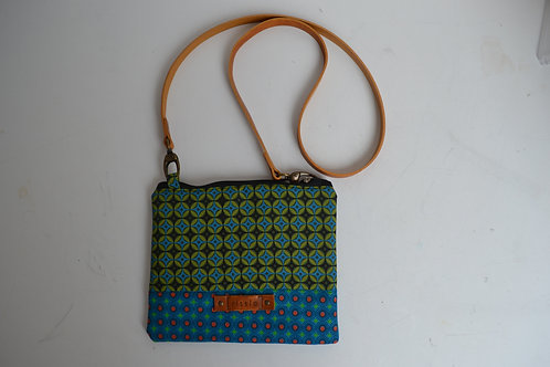Green and turquoise fabric clutch bag with leather strap. Wristlet/Crossbody