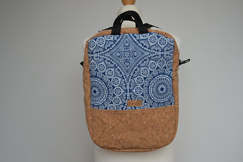 Cork and blue mandala fabric backpack with black webbing straps