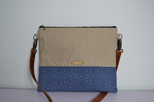 White and Blue Fabric Cross Body bag with brown leather strap