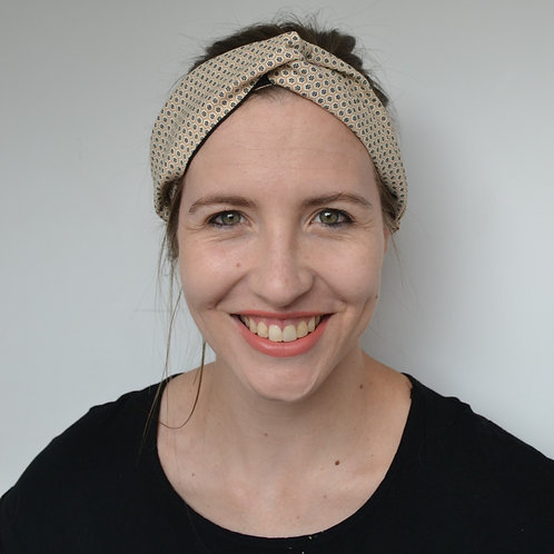 Beige and black shweshwe fabric turban headband