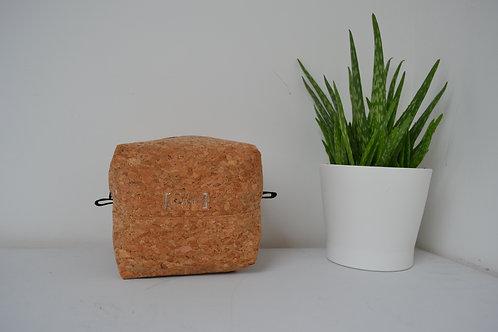 Cork fabric box shaped cosmetic bag