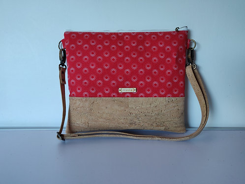 Red Fabric and Cork Leather Cross Body bag with cork strap