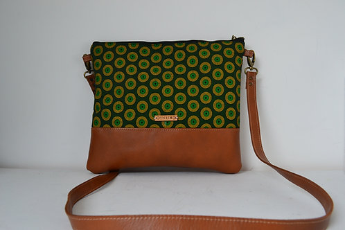 Genuine leather and green fabric crossbody bag