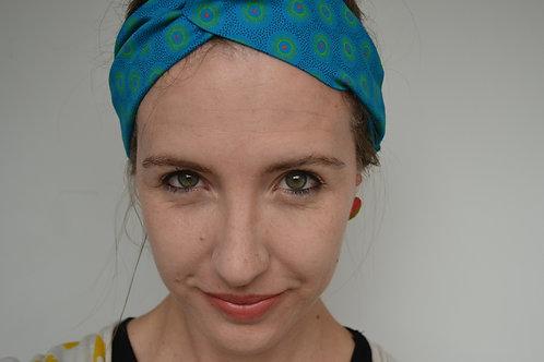Turquoise shweshwe fabric turban headband