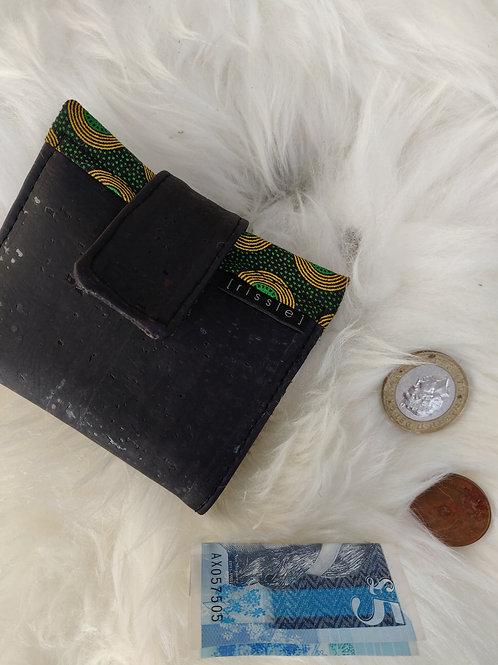 Polperro Midi Cork Leather Wallet in Black