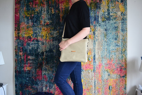 Genuine leather crossbody bag - latte
