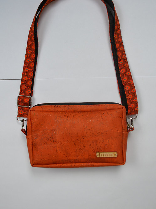 Orange cork crossbody bag with integrated coin, card and notes compartme