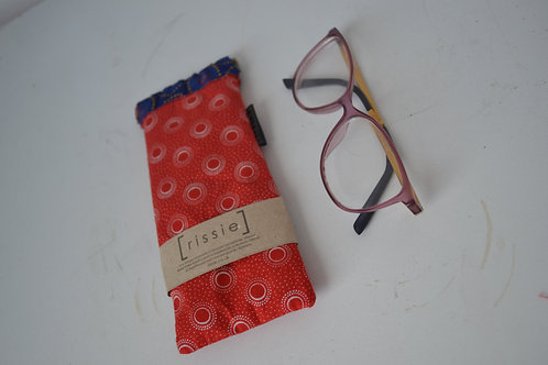 Red and blue fabric spring top sunglasses case, bookish gift