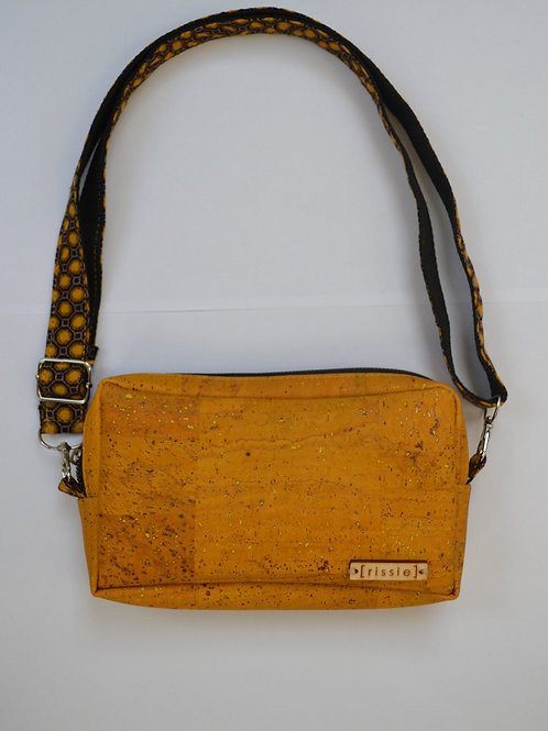 Yellow cork crossbody bag with integrated coin, card and notes compartment