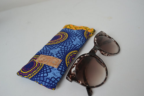Blue and Yellow fabric spring top sunglasses case, bookish gift, eyeglass case