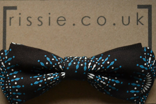 Black and blue pre-tied bow tie
