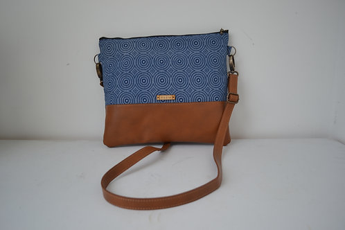 Genuine leather and blue fabric crossbody bag