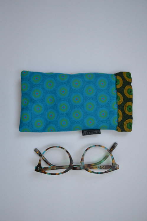 Turquoise and green fabric spring top glasses case