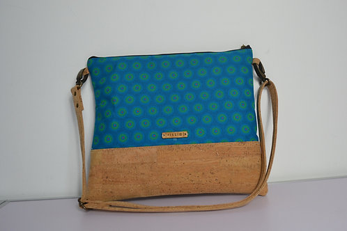 Cork and Turquoise Fabric Cross Body bag with cork strap