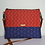 Thumbnail: Red and Blue Fabric Cross Body bag with brown leather strap