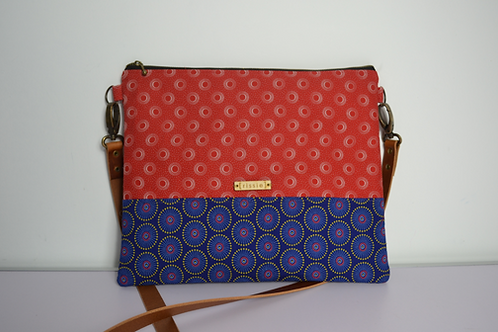 Red and Blue Fabric Cross Body bag with brown leather strap