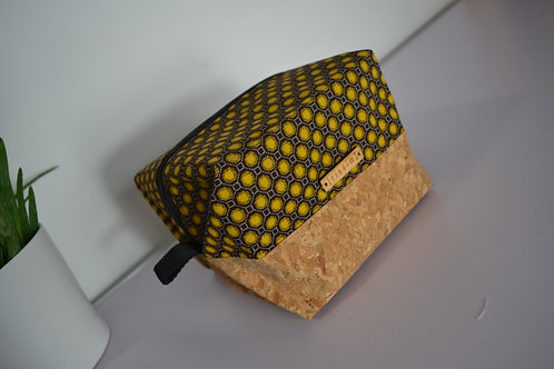 Mustard and brown fabric and cork fabric box shaped cosmetic bag