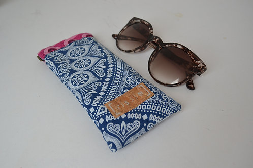 Blue and pink fabric spring top sunglasses case, bookish gift
