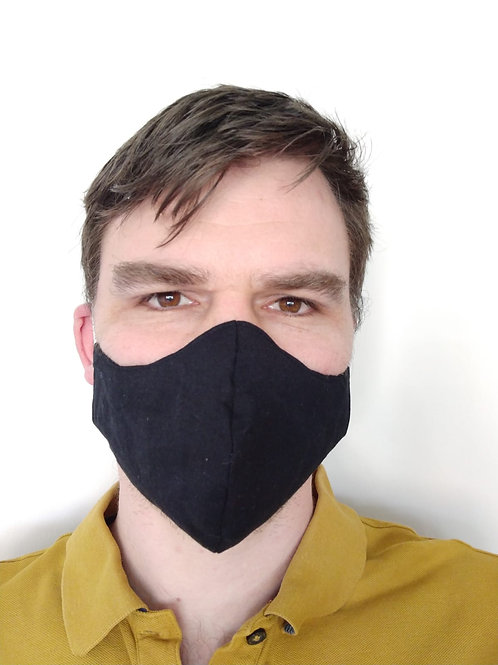 3 Layer Fabric Face Mask - black