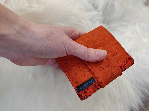 Polperro Midi Cork Leather Wallet in Orange