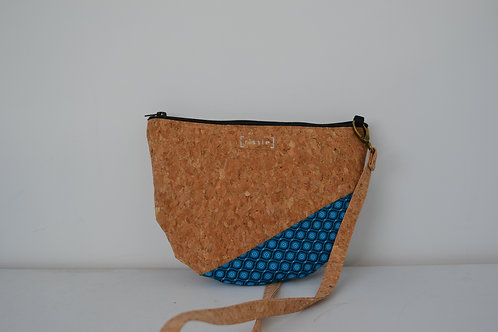 Turquoise African Fabric and Cork Small Shoulder Bag with cork strap