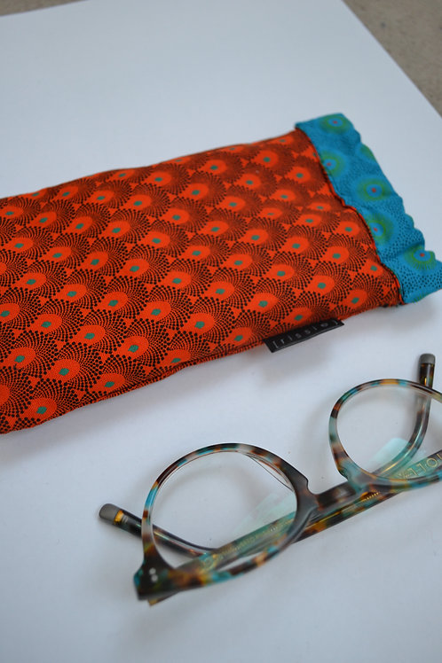 Orange and turquoise fabric spring top glasses case