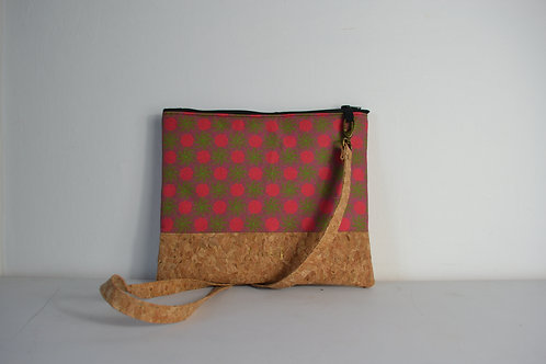 Cork and Pink Fabric Cross Body bag with cork strap