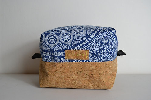 Blue fabric and cork box shaped toiletry bag