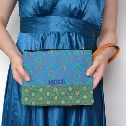 Blue and green shweshwe fabric clutch bag for women with brown leather wrist str