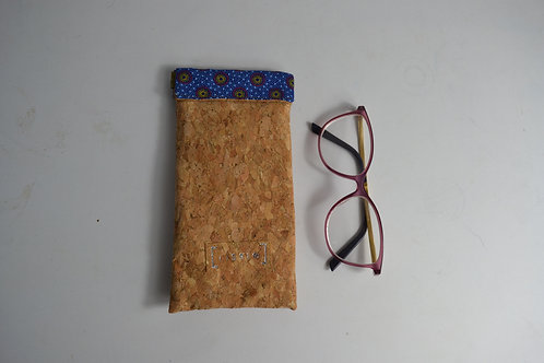 Large cork and blue fabric spring top glasses case
