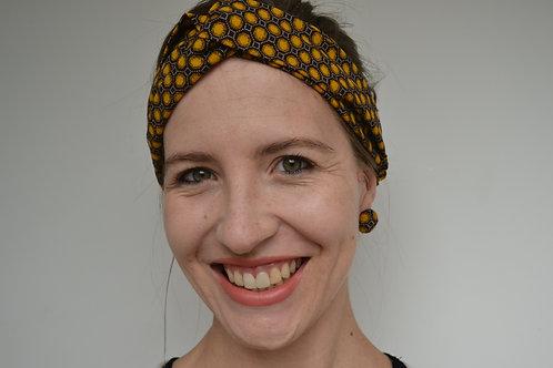Brown and yellow shweshwe fabric turban headband