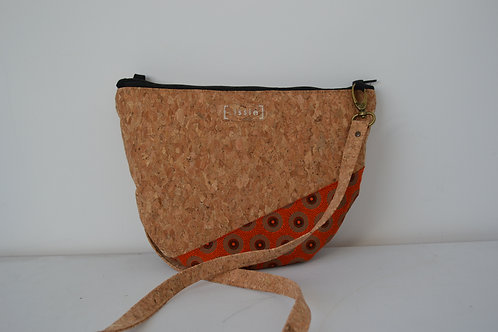 Orange African Fabric and Cork Small Shoulder Bag with cork strap