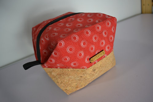 Red fabric and cork fabric box shaped cosmetic bag